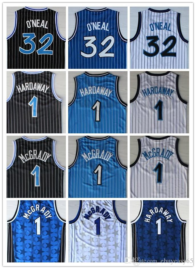 Hombres baratos 1 32 Shaquille Jersey Penny O'Neal Hardaway Tracy Black Mcgrady White Blue Stitched College Jerseys