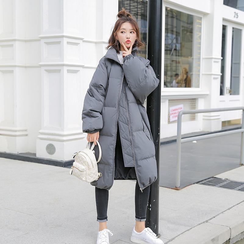 95dcdf7748a9 Invierno 2019 Nueva Ropa de Mujer con Cuello Volquete Largo Puro Abajo  Engrosado Calefacción Pan Abajo moda Chaquetas Abrigo Mujeres