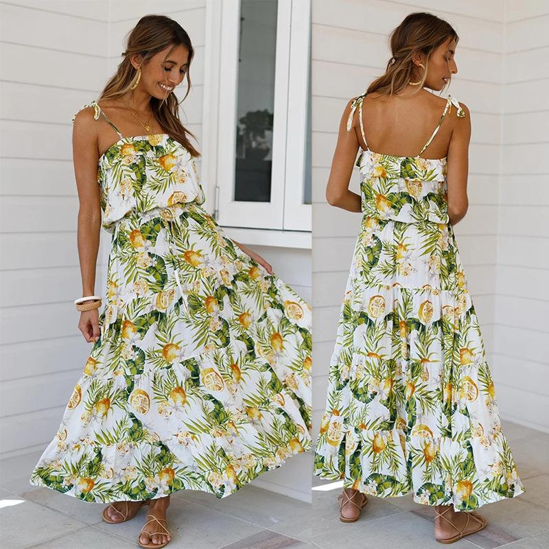 New Spring and Summer Leisure Wind Rainforest Printing Lace Stitching Strap Dress Strapless Sleeveless Mid-caif Women Dress