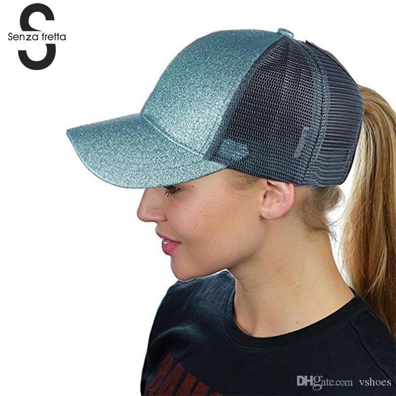 b5ff001c2a 2018 Glitter Ponytail Baseball Cap Snapback Hat Summer Mesh Trucker Hats  Messy Knot Sequin Hiphop Cap Fashion Hat PSG8896 #17374