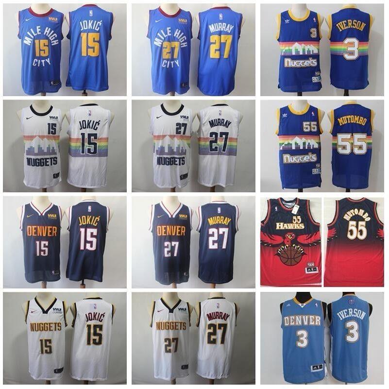 26cdbb031cd8 2019 Denver Basketball Nuggets Nikola Jokic Jersey 15 Men Edition City 27  Jamal Murray 55 Dikembe Mutombo Allen Iverson Blue White Western Union From  ...