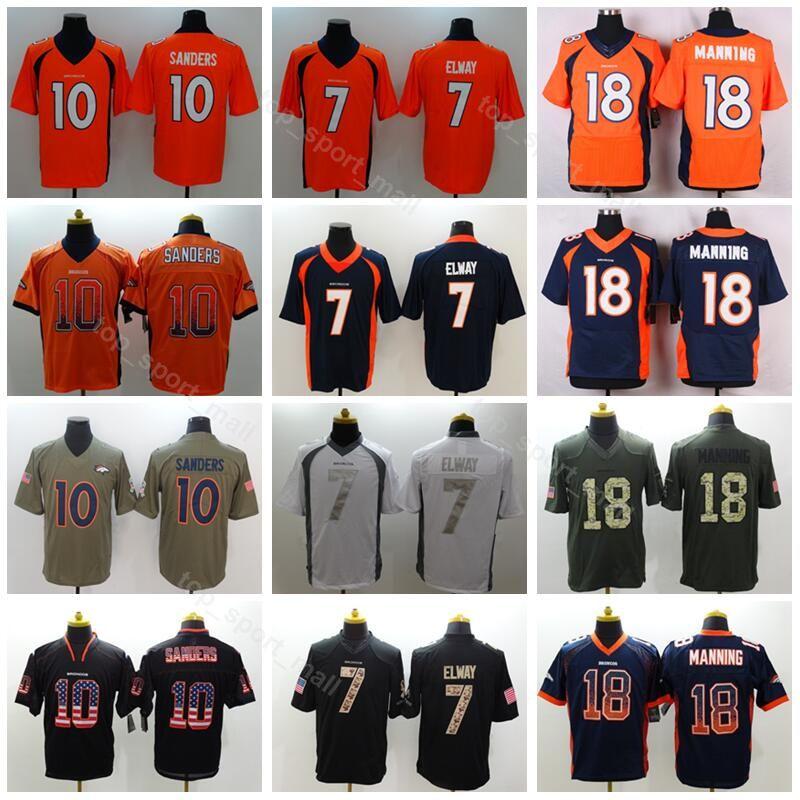 8b36a386f Denver Men Football 7 John Elway Jersey Broncos 18 Peyton Manning 10  Emmanuel Sanders Vapor Untouchable Salute To Service Blue Orange White UK 2019  From ...