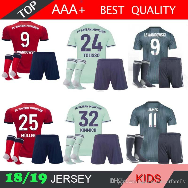 new concept 44af5 f28a9 james MULLER Bayern Munich KIDS kit 18 19 Soccer jersey SOCKS home 2018  2019 VIDAL third LEWANDOWSKI ROBBEN TOLISSO away 3rd KIT