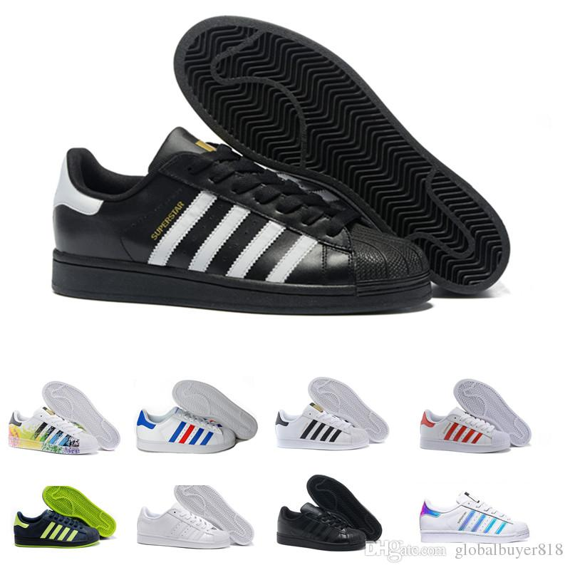 7ba7b17bdc 2019 Men s Shoes For Women s Shoes White Shoe Laser Dazzle Colour Superstar  Shell Head casual shoes Free Shipping