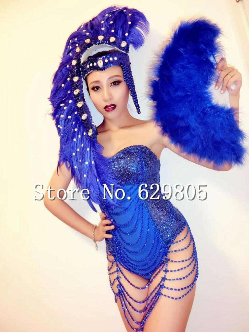 Blue Sequin Shining Rhinestone Beads Tassel Bodysuit Feather Headpiece Stage Wear Prom Outfit Leotard Female Singer Costume