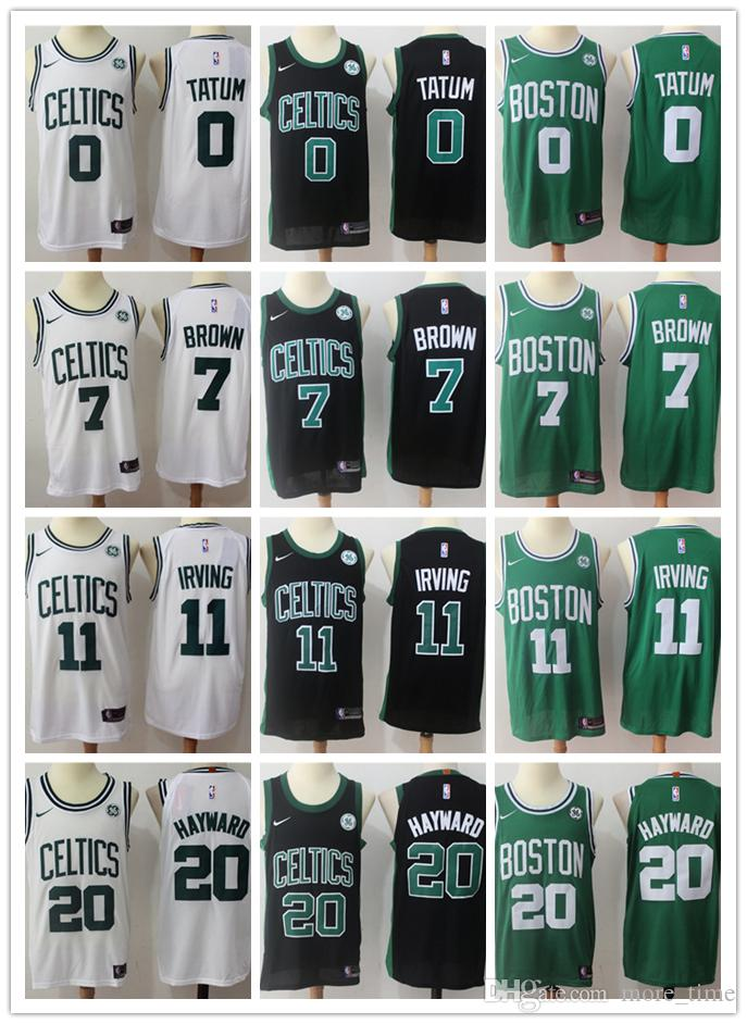 hot sale online 0021b 1a638 2019 New Boston Celtic Irving Basketball Jerseys Stitched Mens Swingman  Jersey #11 Irving #0 Tatum #7 Brown #20 Hayward #42 Horford #33 Bird