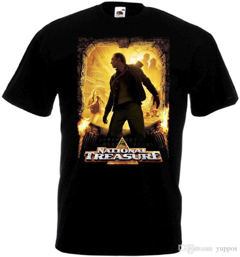 2018 Best T Shirts National Treasure 1 ver.1 T-shirt black Movie Poster all sizes S...5XLBand Logo Tee Shirt For Men