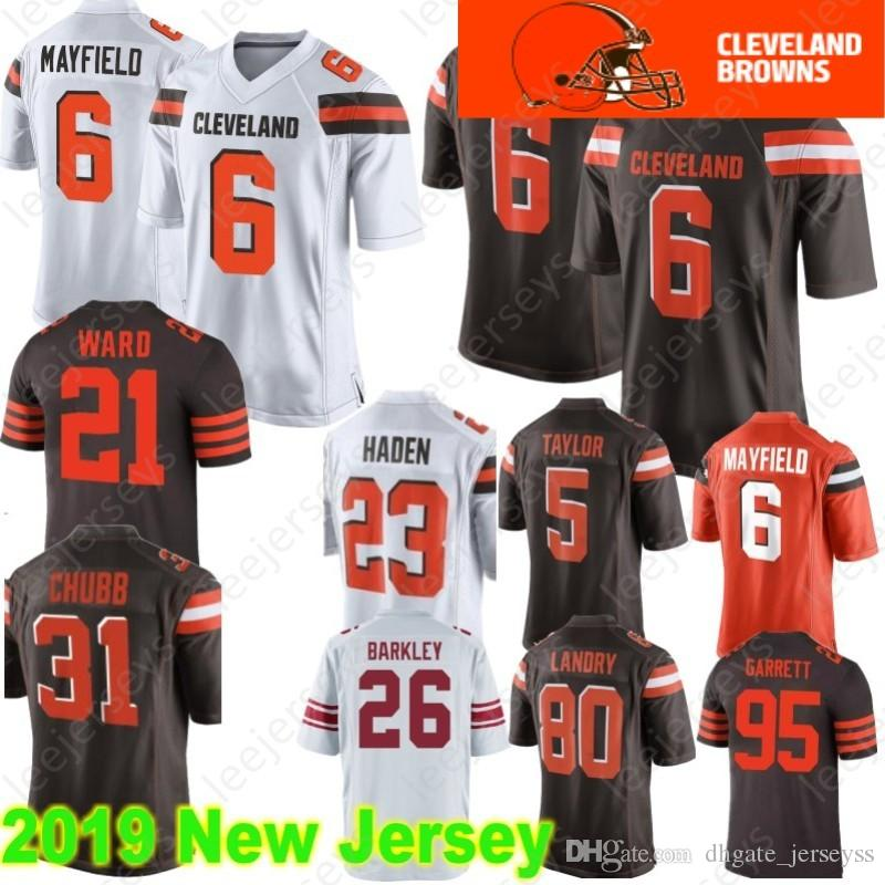 d02dfe11f Cleveland 6 Baker Mayfield Jerseys Browns 21 Denzel Ward 80 Jarvis Landry  95 Myles Garrett 73 Joe Thomas 22 Jabrill Peppers Color Rush Browns Jersey  6 Baker ...
