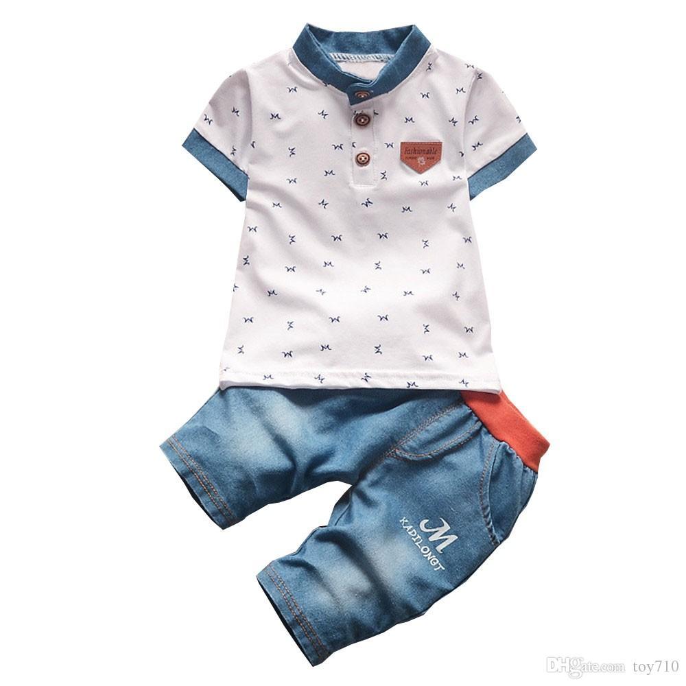 44830e4c3418 Acquista BibiCola Neonati Maschi Vestiti Estivi Neonato Set Di Abbigliamento  Ragazzo Camicie A Maniche Corte + Jeans Cool Denim Shorts Suit A  16.86 Dal  ...