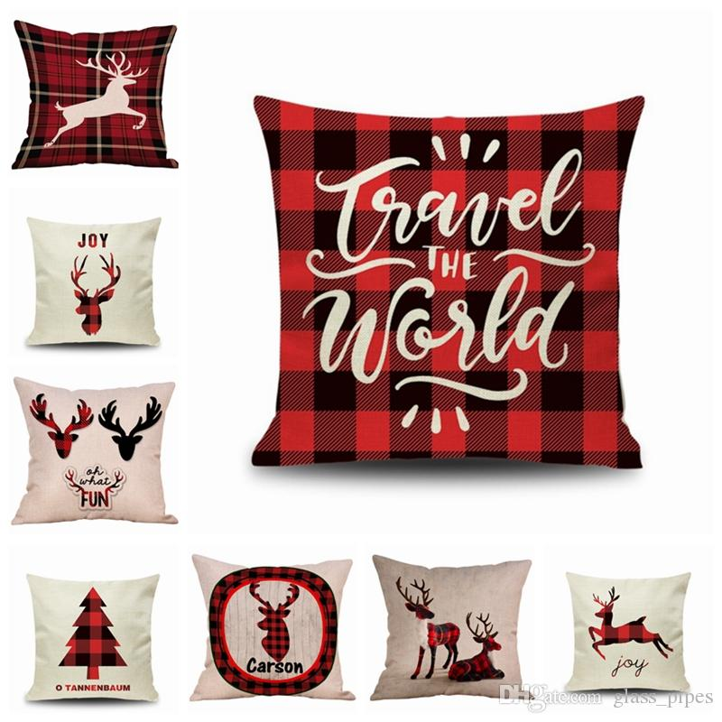 Christmas Cushion Covers Plaid Elk Throw Pillows Xmas Decorative Pillow Case Office Sofa Cushions Home Decor 15 Designs 10pcs Yw1717