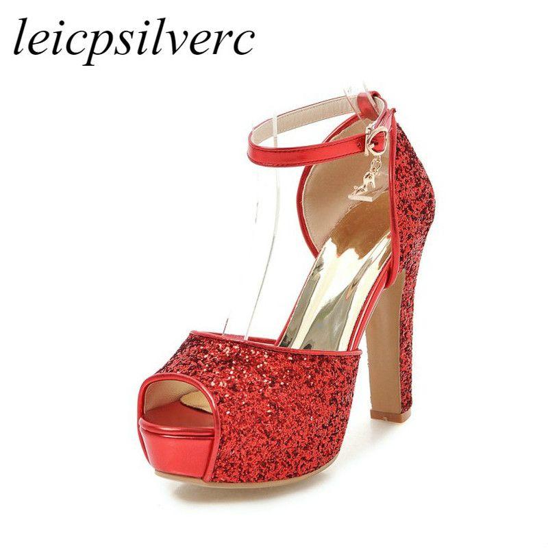 126c5d871 Compre Sandalias De Las Mujeres Zapatos Super Tacón Alto Pu Bling Peep Toe  Plataforma Hebilla Verano Nuevo Sexo Moda Casual Boda Oro Plata Negro Rojo  A ...