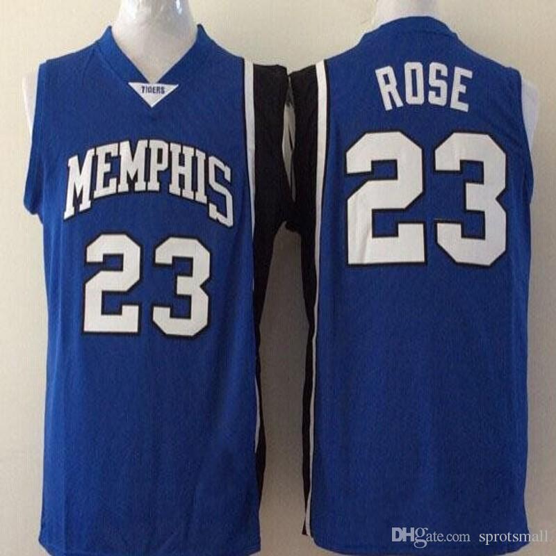 premium selection 75a8d 8d5b8 23 Derrick Rose Basketball Jersey Men s Derrick Rose Memphis Tigers College  Jerseys Stitched Rose Blue University Shirt