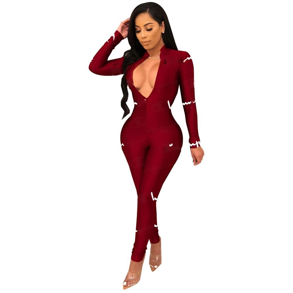 a91588d811b 2019 Joiekuno QM3588 Letter Long Jumpsuits Fashion Set Women Bodycon V Neck  ZIp Collar Sexy Party Club Women Rompers WZ126 From Biangye