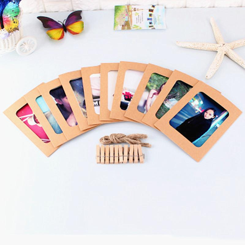 Paper Photo Frame Picture Frame With Wooden Clip and String DIY Hanging Wall Picture Wedding Birthday Party Decoration