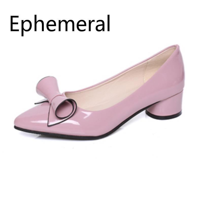 Women sweet bow pumps low cute shoes pointy toe square heels 4cm patent leather shiny candy colors annual promotion 1111 purple