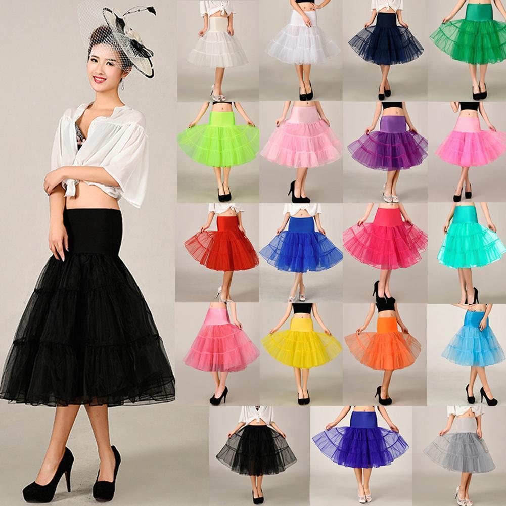 Compre Faldas De Tul Para Mujer Moda De Cintura Alta Falda Plisada Del Tutú  Retro Vintage Enagua Falda De Crinolina Faldas Falda De Las Mujeres Saia A  ... 002009f3b9fd