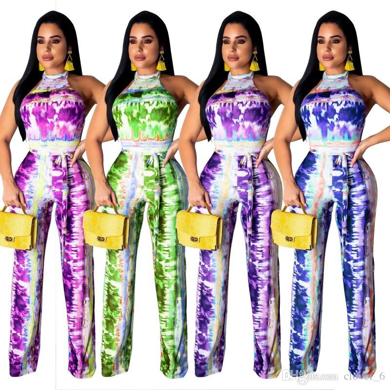 Womens Rompers sexy color Jumpsuits chest wrap Skinny l printed Womens Night Club Suits Female Overalls Clothing klw0875