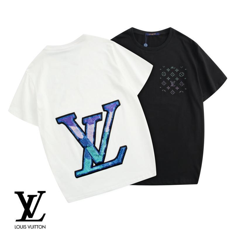 Mejor precio información para la compra auténtico 2020 camisetas de diseño para hombre con estampado de monograma súper  reflectante de colores, camiseta con cuello redondo LOGO de lentejuelas con  ...