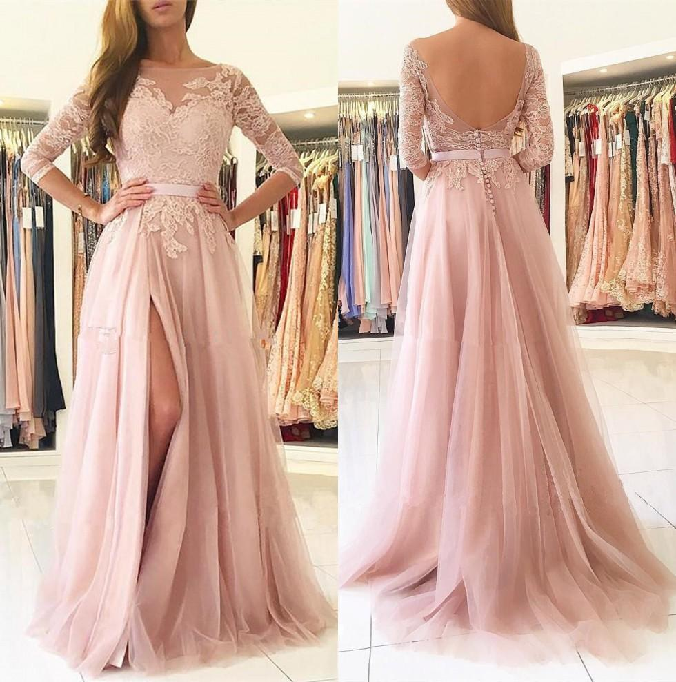 Blush Pink Split Long Bridesmaids Dresses 2019 Sheer Neck 3/4 Maniche lunghe Appliques Lace Maid of Honor Paese Abiti da ospite economici