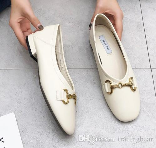 2019 Chic oxfords shoes women soft PU leather low heel designer shoes size 34 to 39