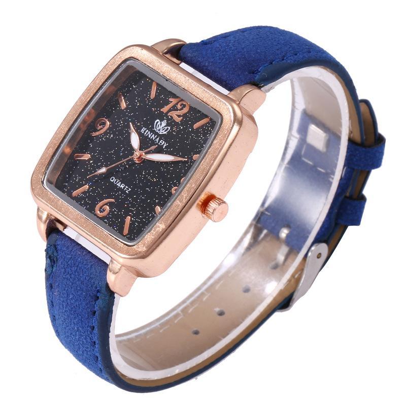 81933b1736eb Compre Moda Para Niñas Cielo Estrellado Forma Cuadrada Reloj De Pulsera  Señoras Vestido De Lujo Relojes Mujeres PU Correa De Cuero Reloj De Cuarzo  A  87.06 ...