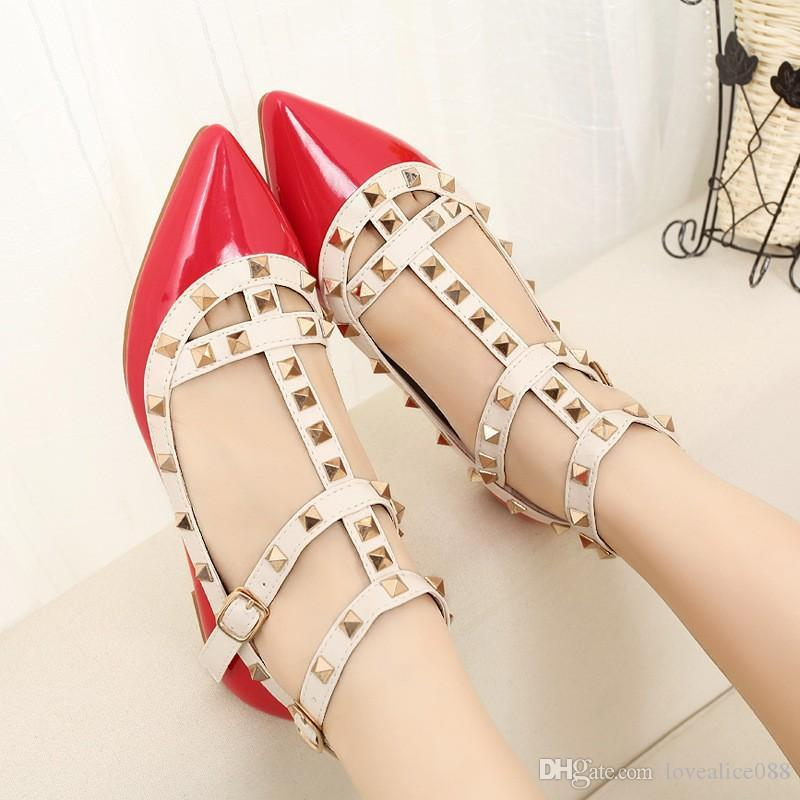 Fashion fetish red high heels women shoes wedding shoes Rivet mary jane pumps escarpins femme ladies lolita gladiator Club Party Sandals