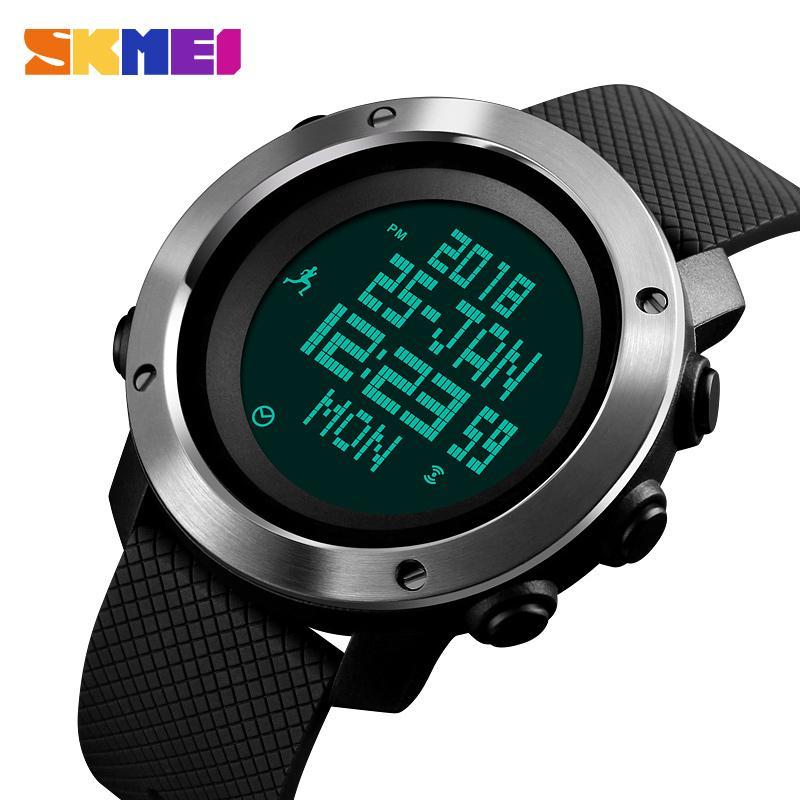 Smart Skmei Calories Pedometer Mens Sports Watch Fashion Digital Waterproof Military Wristwatches Compass Relogio Masculino Digital Watches