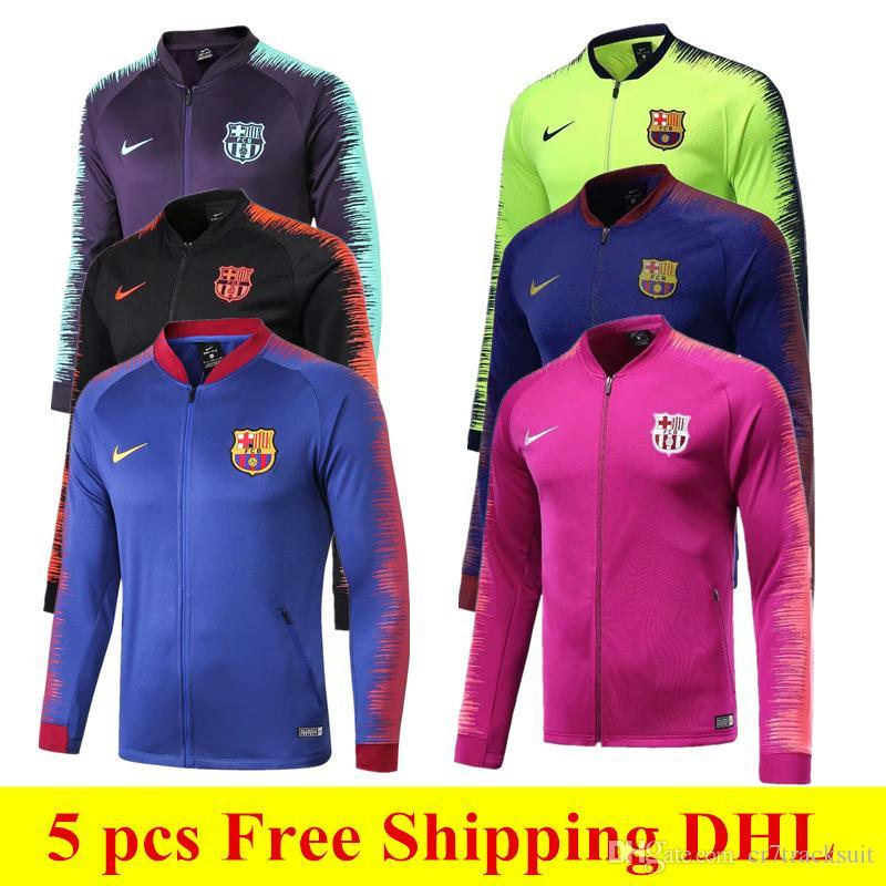 brand new 2bf00 f1090 5 pcs Free DHL 18 19 Barcelona jackets 2019 FCB Coutinho soccer jersey  Messi training suits Barcelona adults red green tracksuit