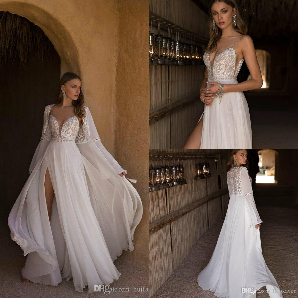 Chic Asaf Dadush 2019 Beach Wedding Dresses Spaghetti Lace Beaded Boho Bridal Gowns With Long Jacket Custom Made Bohemian Wedding Dress