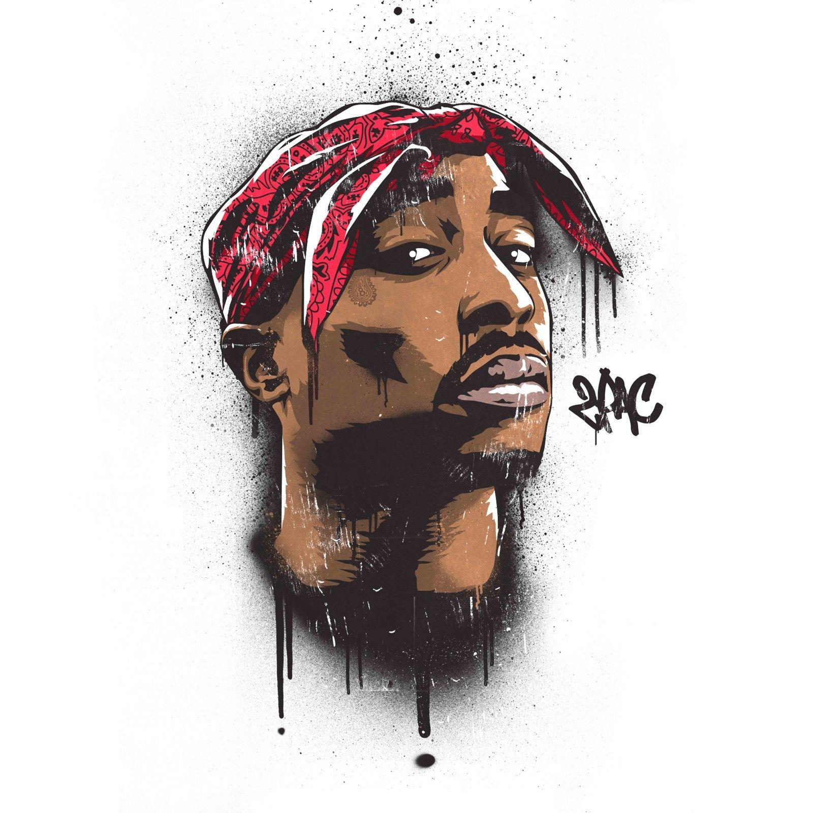 hot 2Pac Tupac Shakur Decor Art Silk Print Poster 24x24inch