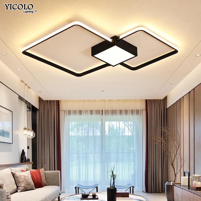 Moderne led-kronleuchter licht lampe wohnzimmer beleuchtung drei  quadratische schlafzimmer küche oberflächenmontage dimmbar mit fernbedienung