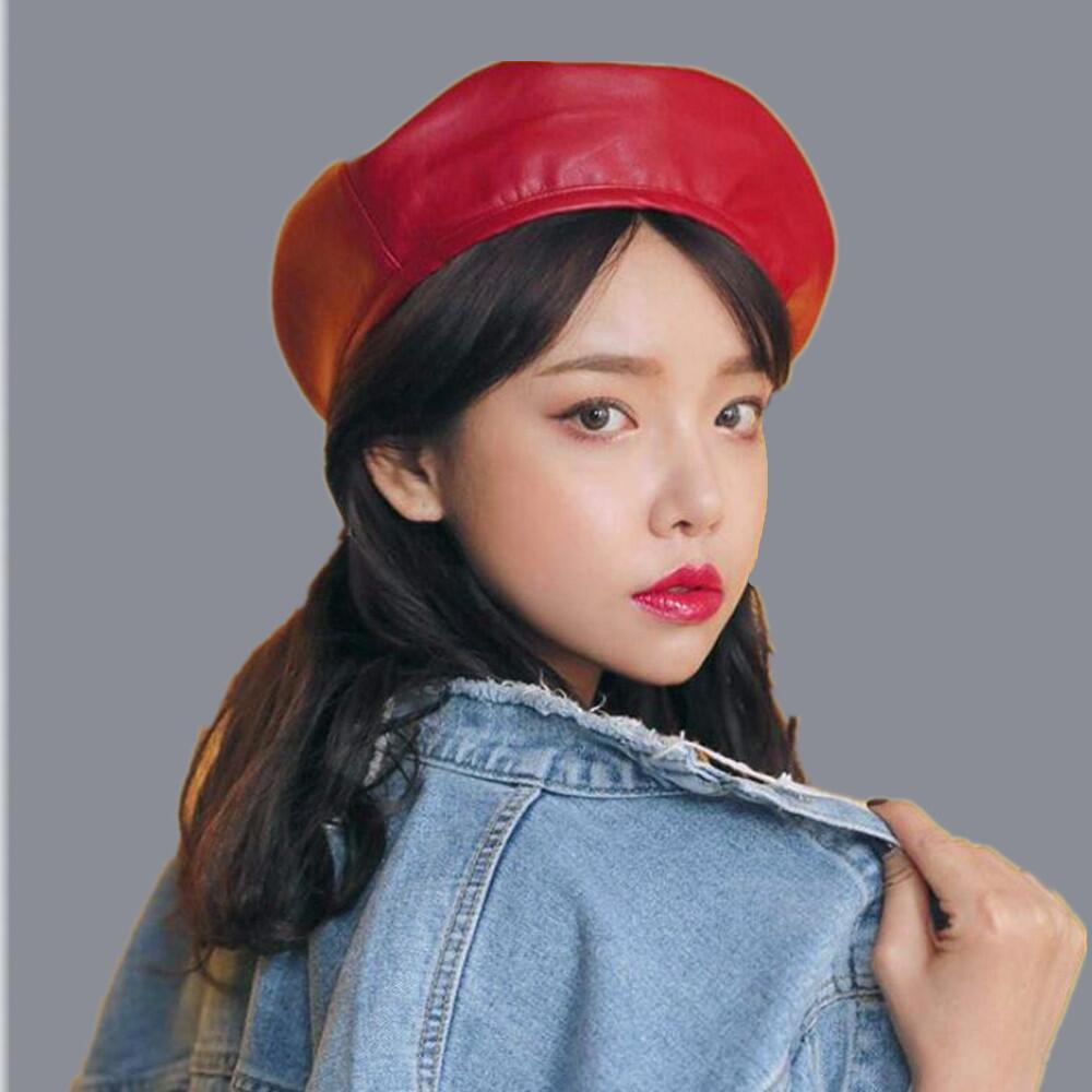 OZyc High Quality Fashion Felt Pu Leather Beret Hat Women Cap Female Ladies  Beanie Beret Girls For Spring And Autumn S18120302 Trucker Hats Winter Hats  From ... a6529aaf756