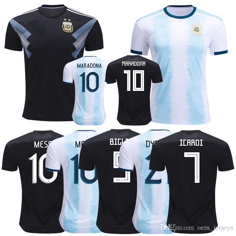 lowest price f81b1 4789d New Mens 2019 2020 Soccer Jerseys 18 19 Diego Maradona Lionel Messi Home  Away Camisetas Futbol Camisas Maillot Football Shirt