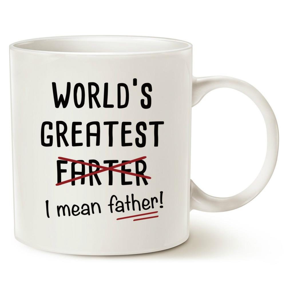 Funny Christmas Gifts Best Dad Coffee Mug WorldS Greatest Farter I Mean Father Cute Birthday For Porcelain Cup White 11 Oz Customized