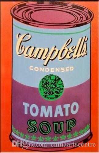 Andy Warhol Dipinto a mano HD Stampa Pop Art Pittura a olio Campbell's Tomato Soup su tela Wall Art Home Deco g64