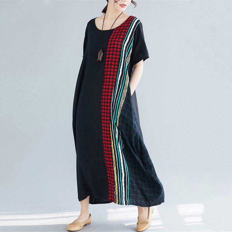 248d7de517725 Black Cotton Linen Vintage Stripe Plus Size Women Casual Loose Long Summer  Dress Elegant Clothes 2019 Ladies Dresses Sundress Women Dresses Sheath  Dress ...
