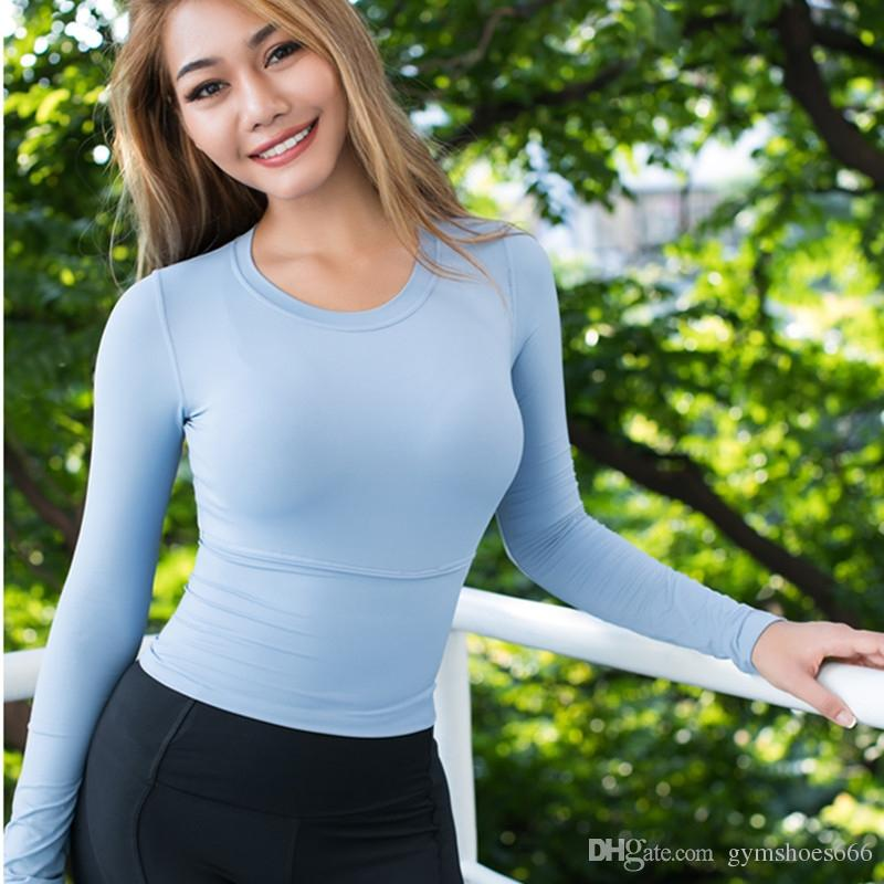 cd77eba59dbd6c 2019 Autumn New Yoga Top Long Sleeve T Shirt Back Reflective Letter Gym Sexy  Crop Tops Elastic Tight Fitness Running Sport T Shirt #20551 From  Gymshoes666, ...