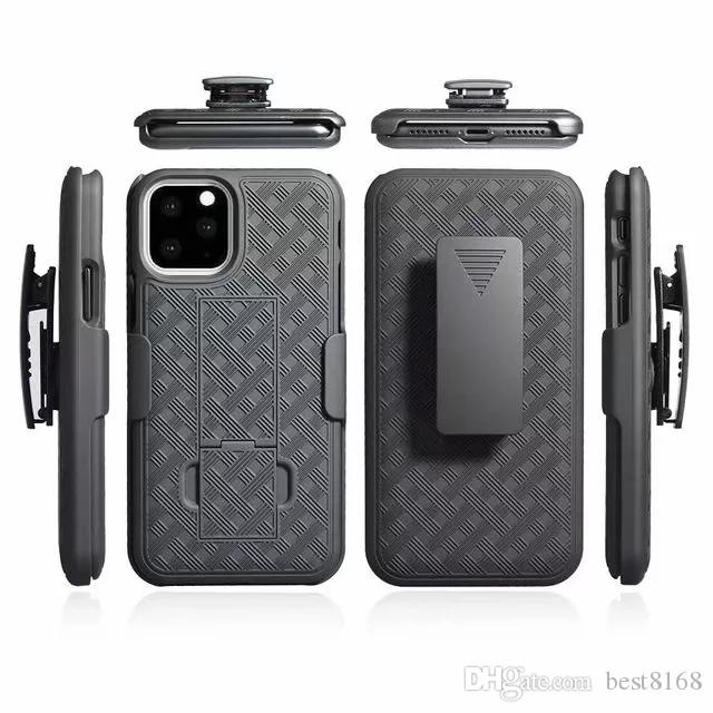 Woven Case With Clip Belt For Iphone 5.8 6.1 6.5 inch 2019 New Samsung Note 10 Pro Holster Hard PC+TPU Shockproof Carbon Fiber Hybrid Cover