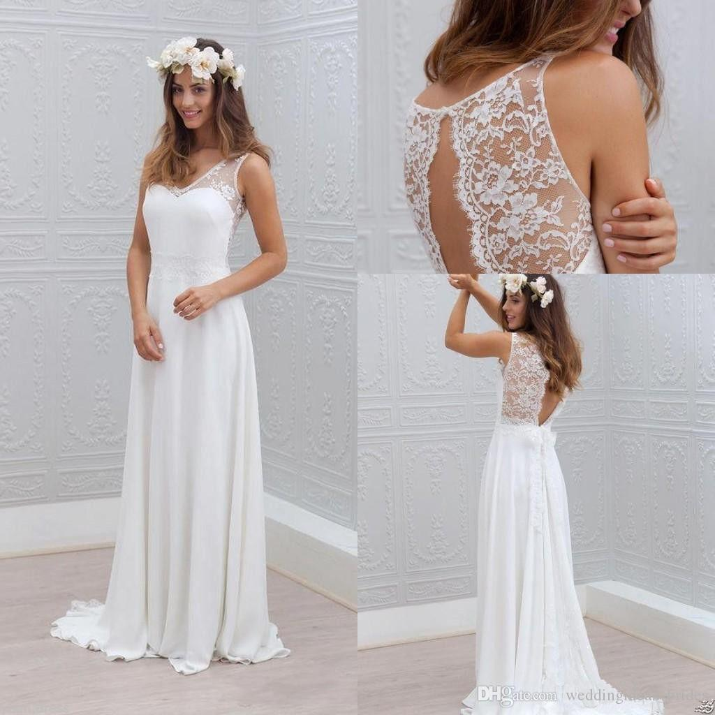 White Wedding Gown Styles: Discount 2019 Simple Bohemian Wedding Dresses A Line White