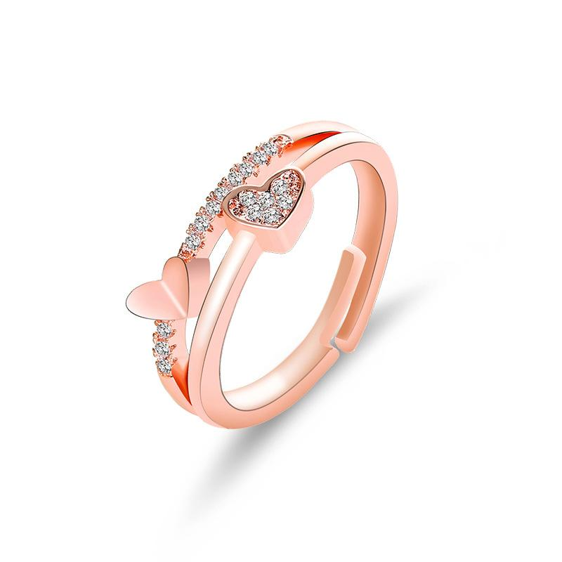 Heart Shaped Adjustable Rhinestone Rose Gold Heart Rings For Women