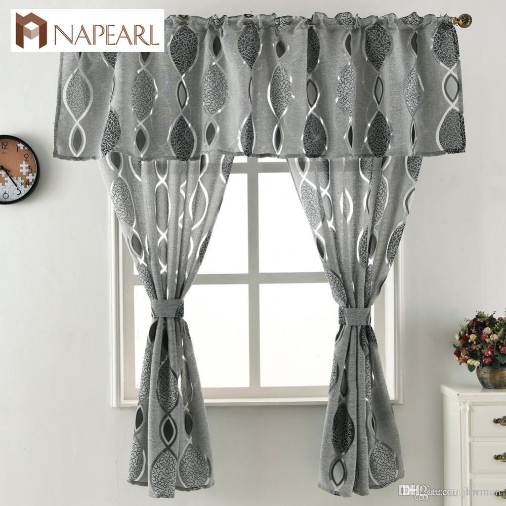 2019 Jacquard Short Curtain Valance Kitchen Curtain Home Living Room