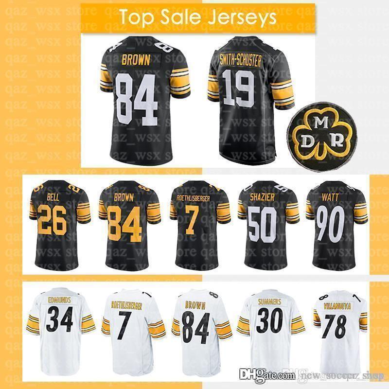 sports shoes 171b0 6ff45 19 Juju Smith-Schuster Jersey Pittsburgh 84 Antonio Brown Steelers 90 T.J.  Watt 7 Ben Roethlisberger 36 Jerome Bettis 50 Ryan Shazier