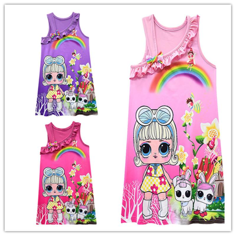 21d8055372d 2019 Kids Surprise Girls Princess Dress Sleeveless Tank Dresses Cartoon  Printed Princess Skirt Braces Skirt Bow Ball Gown Party Wearing C432 From  ...