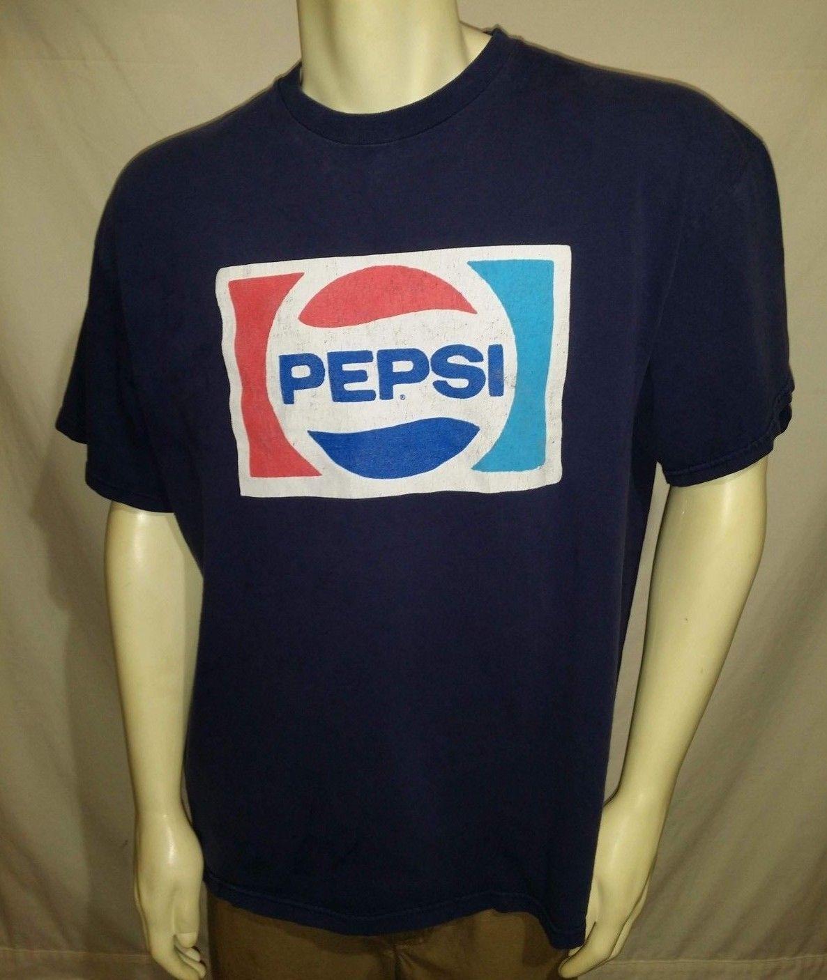b57ff83d9d7 True Vintage PEPSI Cola T Shirt 2XL Navy Blue Classic Logo Soda Advertising  Funny Unisex Casual Tshirt Tee Shirts Mens T Shirts From Buyfriendly