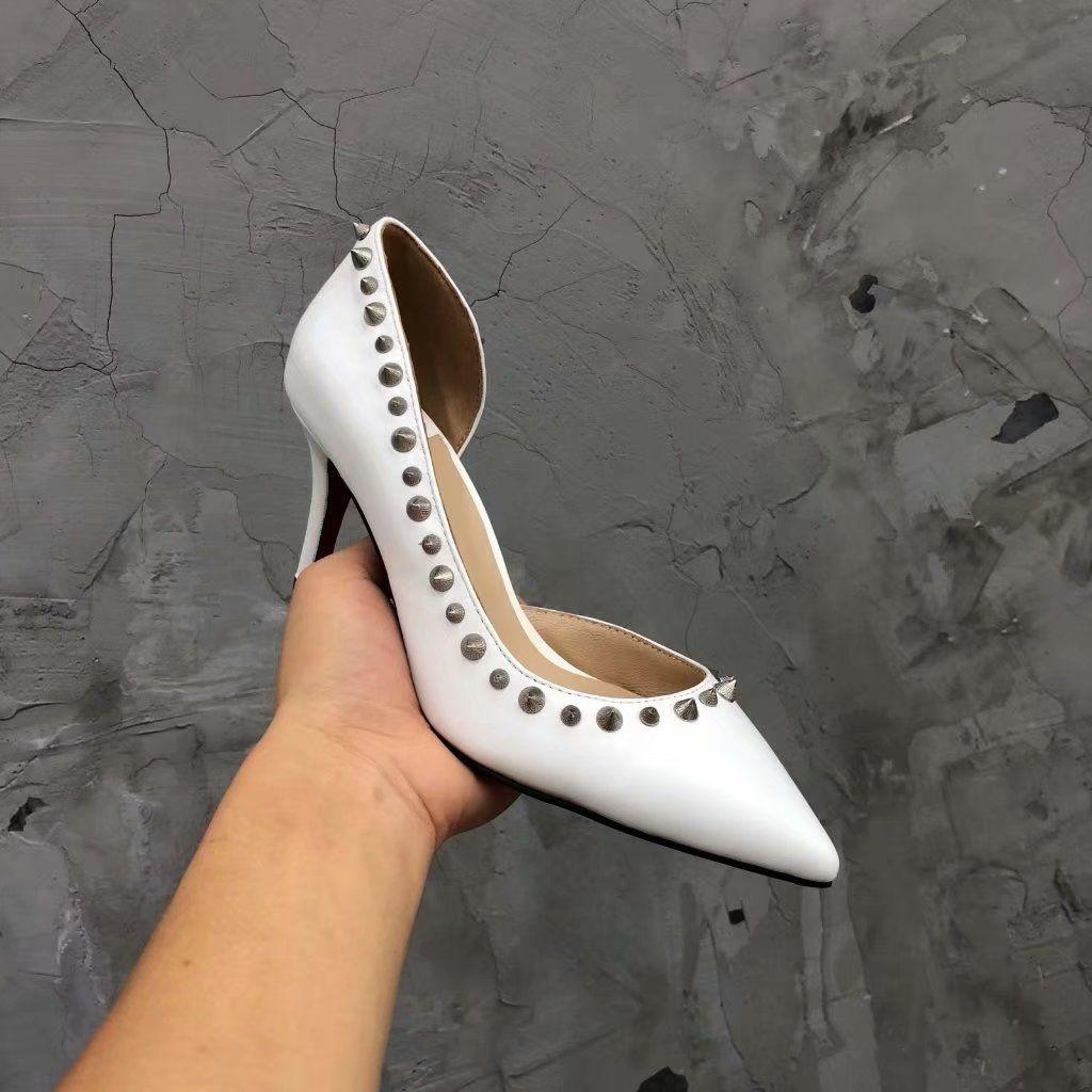 5cc82b890c9 Red Black High Heels Wedding Pumps Slip on Dress Shoes Genuine ...