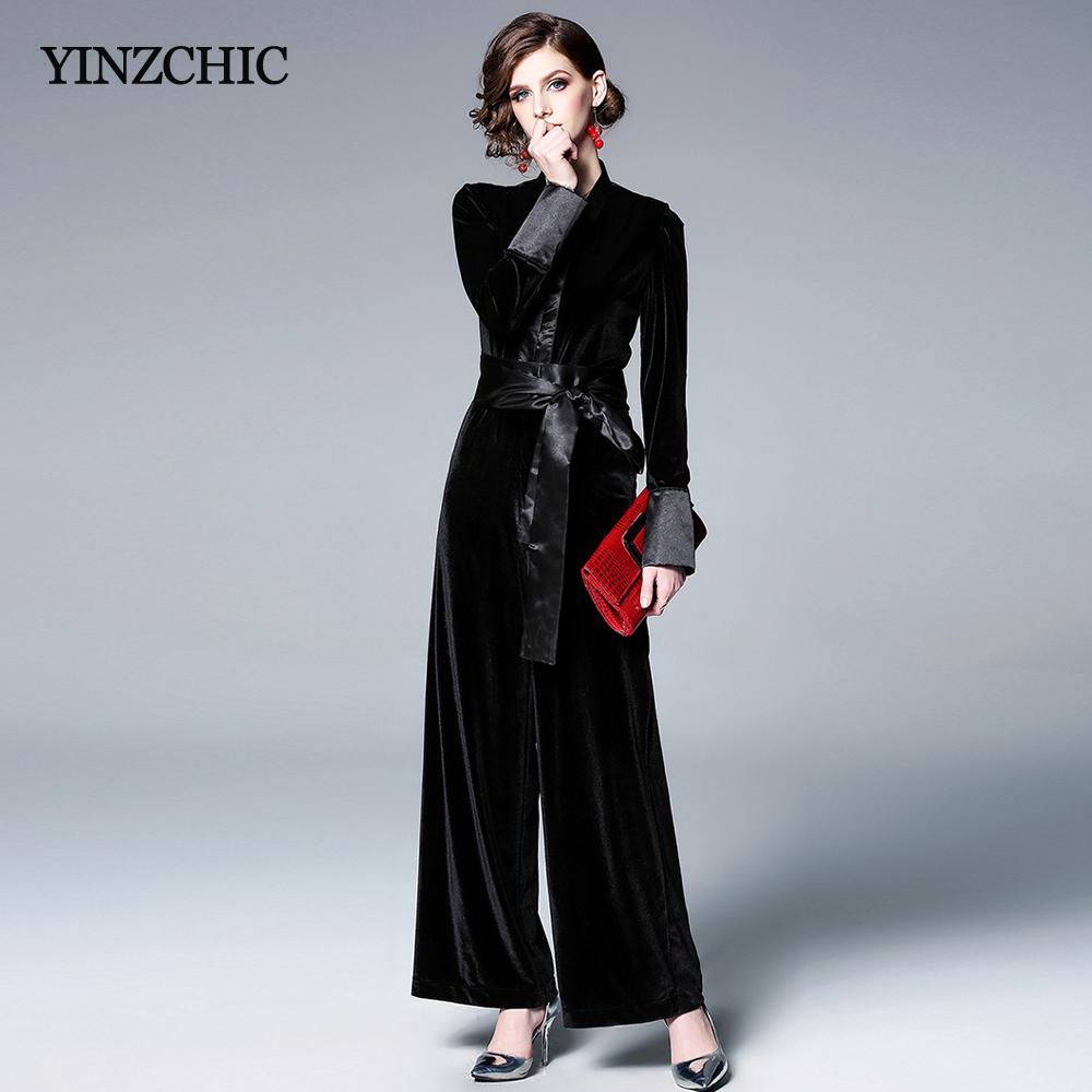 387f072a0ad6 Fashion Womans Spring Jumpsuits Casual Female Velour Full Jumpsuit V ...