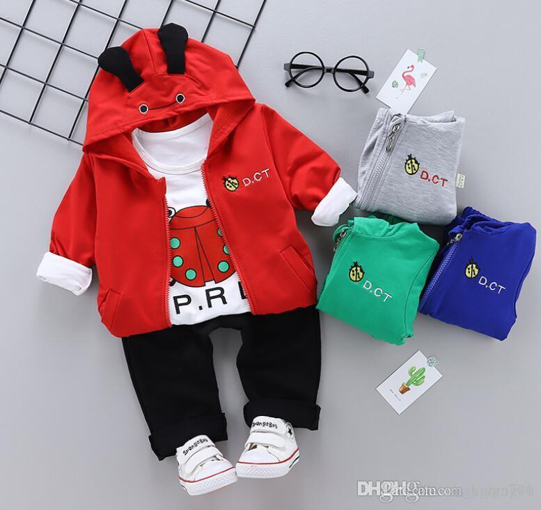 New Spring and Autumn Leisure Edition 2019Cartoon Seven Star Ladybug Long Sleeve Top Three Kids Suit for 0-4 Years Old Babies suit Best-s