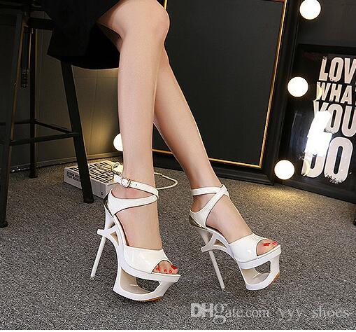 829268c2c787 Night Club Sandals Wedding Party Womens Peep Toes Shoes Super High Heels  Shoe Ladies Pumps Platform Stilettos Heel 17 Cm Patent Leather Mens Dress  Shoes ...