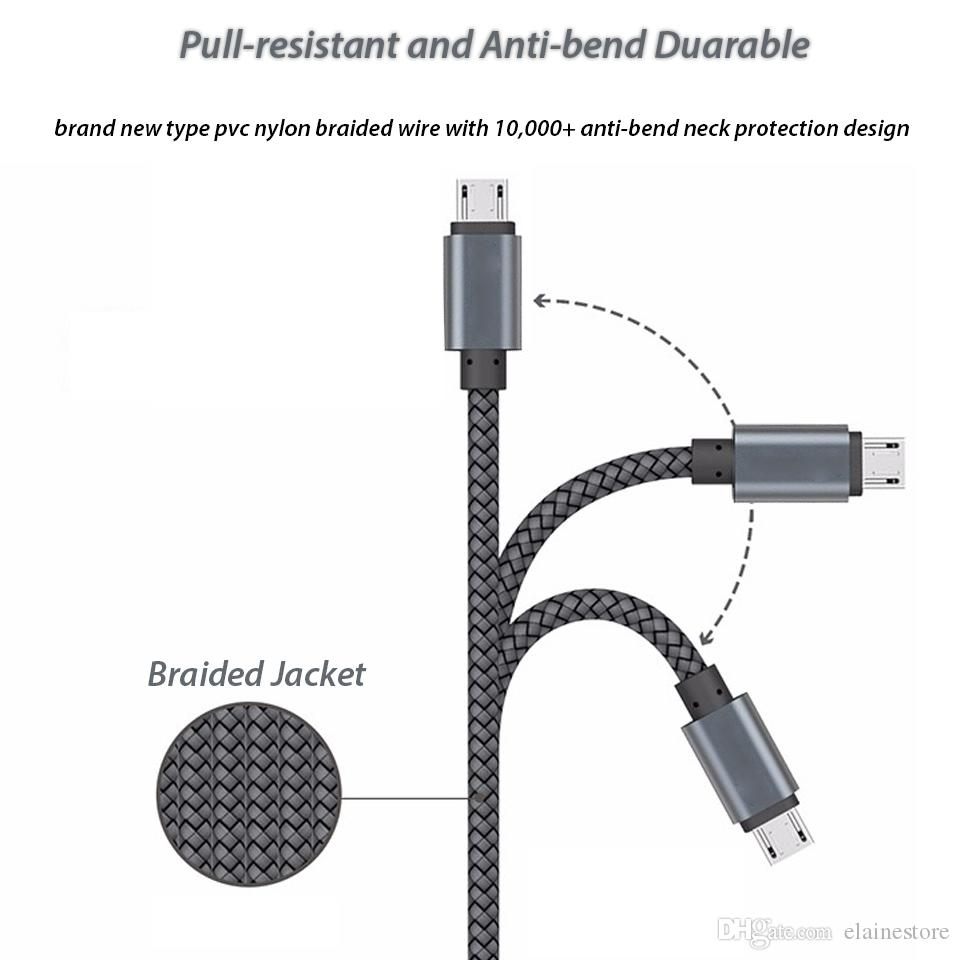New Micro /Type C USB Cable Data Sync Charging Adapter Aluminum Alloy Adapter For Samsung S10 S9 NOTE9 S6 huawei android Phone 10ft/6ft/3ft