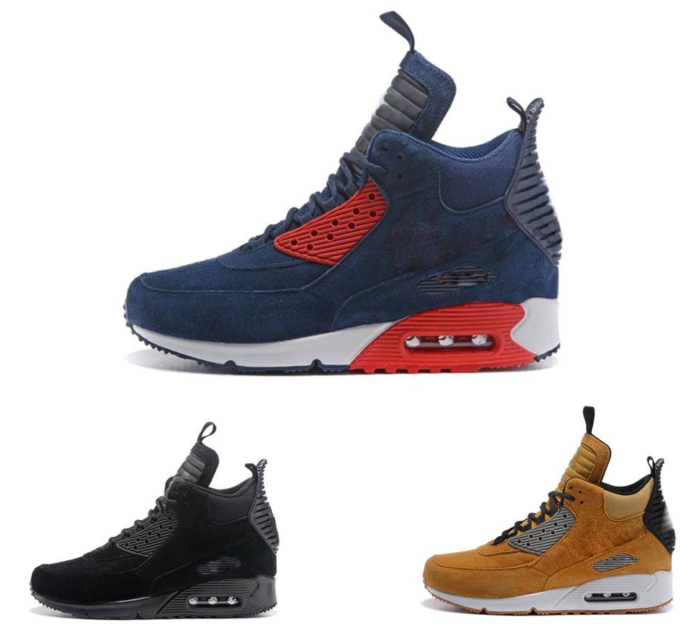 ac8cb1ad78 Compre Zapatos Para Hombre Zapatos Deportivos Clásicos 90 Invierno  Sneakerboot Vino Rojo Runner Hombres Zapatos Para Correr Zapatillas  Amarillas De Trigo ...